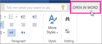 Open In Word from Edit view in Word Online