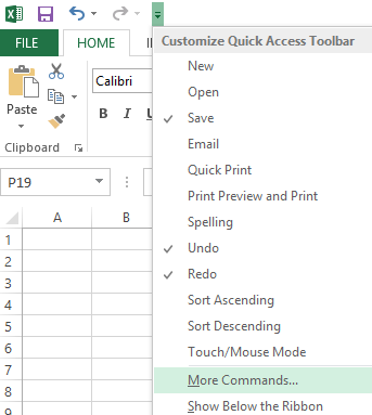 Use the Customize Quick Access Toolbar drop-down to get to commands that aren't already on the ribbon.
