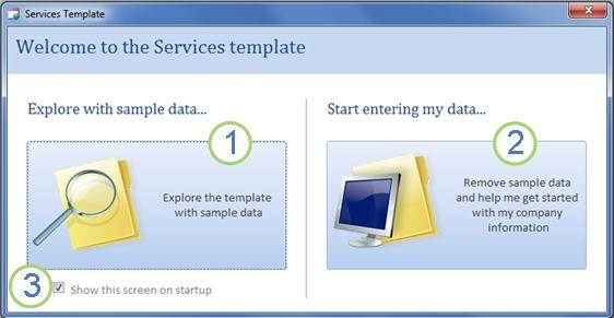 Startup form of the Services Web Database template