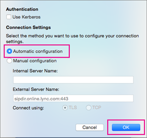 Clear the Use Kerberos box, choose Manual Configuration, and enter sipdir.online.lync.com:443 in both boxes.