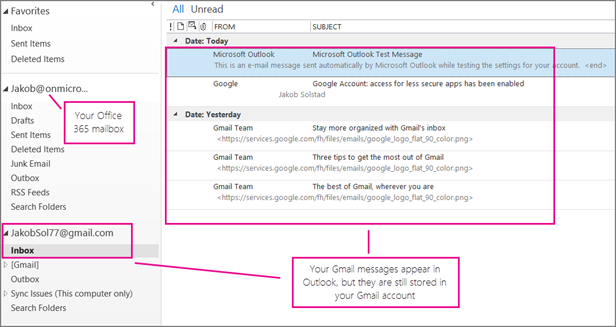 After you add your gmail account, you will see two accounts in Outlook