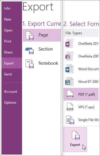 You can export notes to other formats, like a PDF, XPS, or Word document.