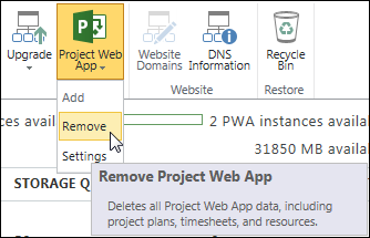 On the ribbon, click Project Web App, and then click Remove.