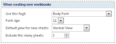 Font settings in Excel Options dialog box
