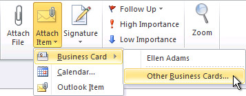 Attach Other Business Cards command on the ribbon