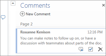 Threaded comments in Word Online