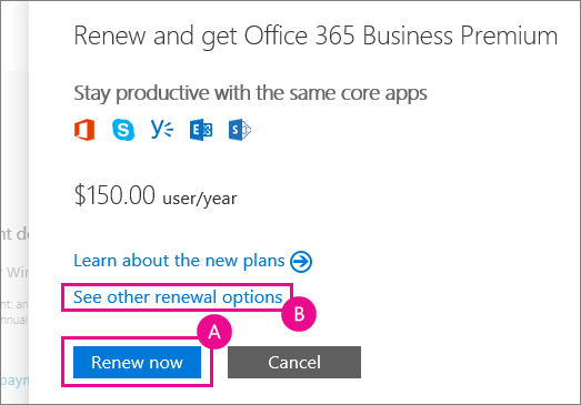 Screenshot of flyout menu showing the recommended Office 365 plan