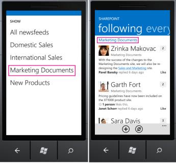 SharePoint Newsfeed App following screen