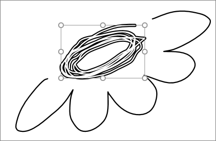 Shows portion of a drawing selected by Lasso Tool in PowerPoint