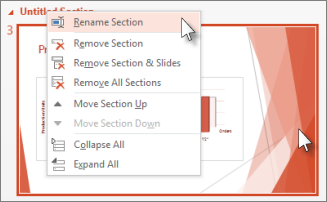 Rename a section