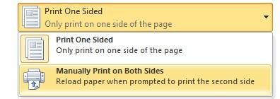 Manual duplex printing