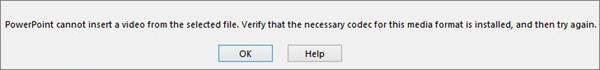 error regarding video compatibility codec