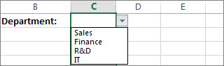 Drop-down list created by using data validation