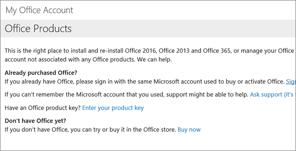 Page you see if you signed into My Office Account using the wrong email and password
