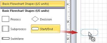 Drag a Start/End shape onto the page