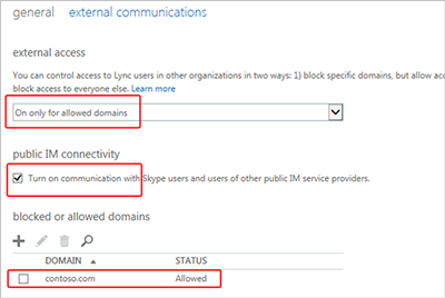 External communication setting - only allowed domains