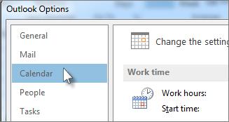 In Outlook Options, click Calendar.