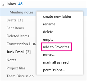 Right-click to add a folder to Favorites
