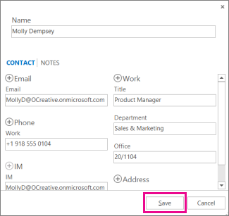Adding a new contact to Outlook from a message