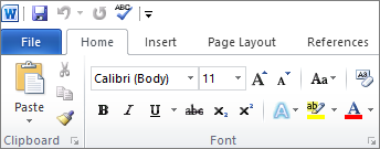 Home tab in Word 2010