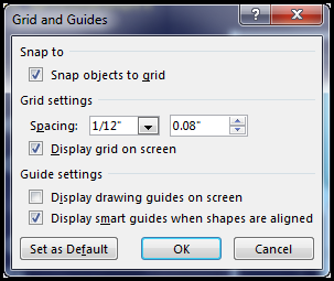 PowerPoint Grid and Guides dialog box