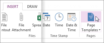 View the available templates in OneNote.