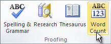 Word Count command on the ribbon