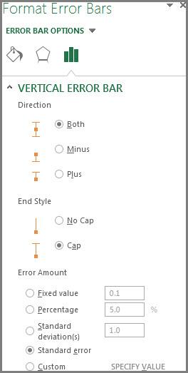 Format Error Bars pane