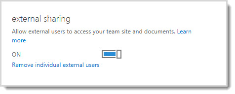 Image showing the on/off control for allowing external users access to your team site and documents.
