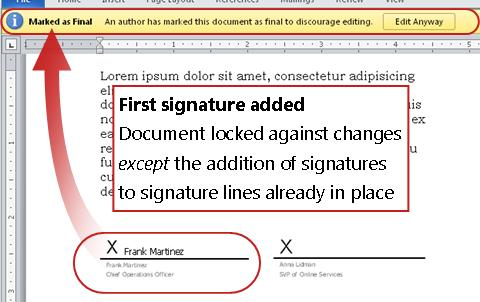 Document with first signature added, thus locked from changes