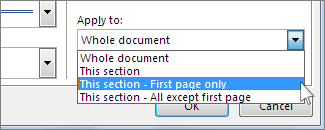 List for choosing which pages show the border