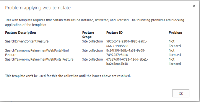 Screen shot of an error message showing an error you might get if unavailable features prevent site creation in SharePoint Online.