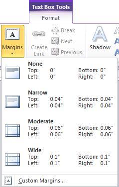 Text box margins