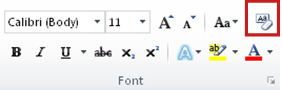 clear formatting in the font group