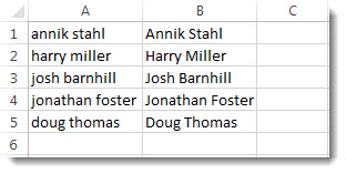 Using Flash Fill, all the names in column B are now in Proper case