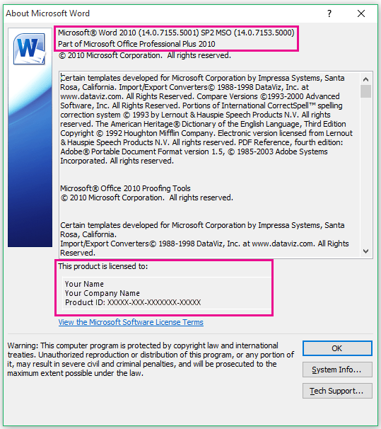 About Word 2010 window