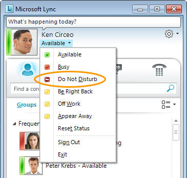 Lync Set Do Not Disturb