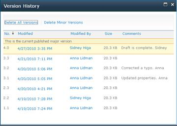 Version History dialog box showing several versions. Some versions are missing and the most recent one is highlighted.