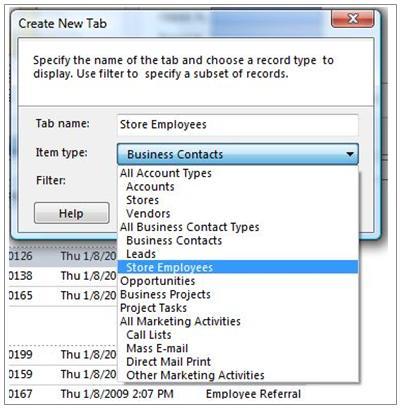 Create New Tab dialog box