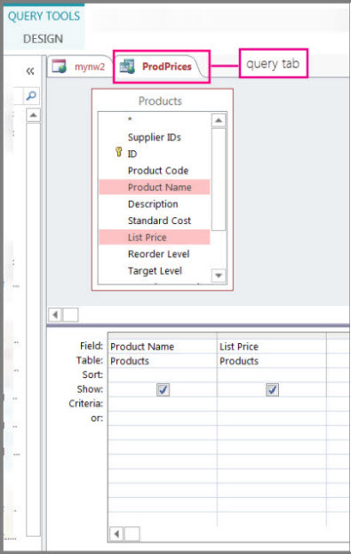 Create a select query access for Query design window
