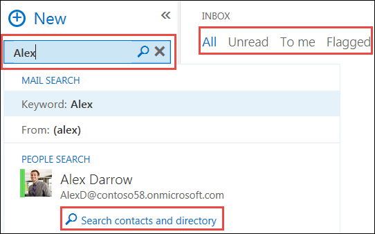 Outlook Web App search options