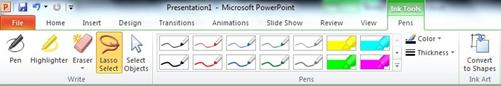 The Lasso tool on the Format tab under Ink Tools in the PowerPoint 2010 ribbon