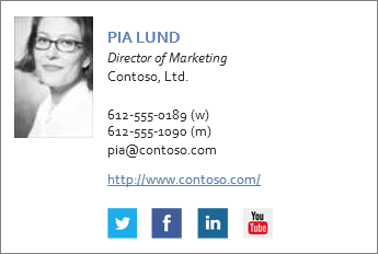 Example email signature with Facebook and Twitter icons