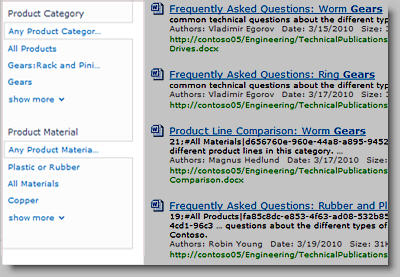 The refinement panel displays metadata that can be used to filter search results.