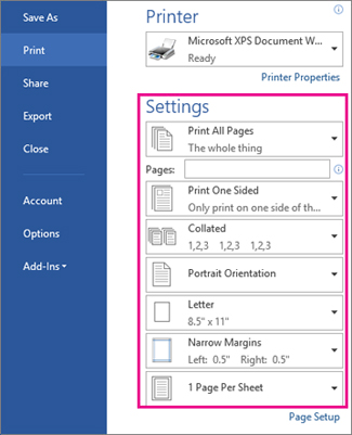 Change the print settings of your document
