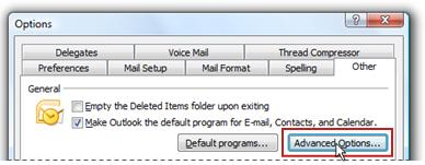 Advanced Options in Options dialog box