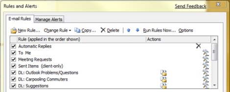Rules and Alerts dialog box in Outlook 2007