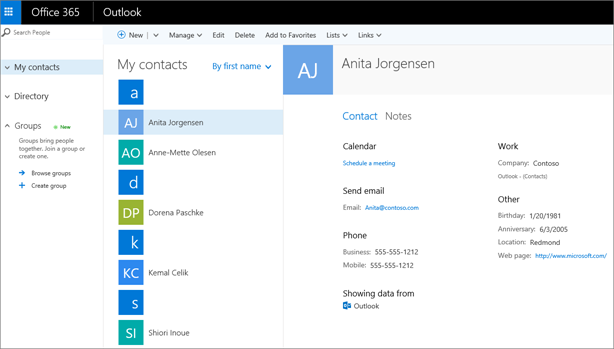 After you import contacts, here's what they look like in Outlook on the web.