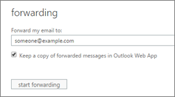 Set up forwarding options and decide if you want to keep a copy in your inbox
