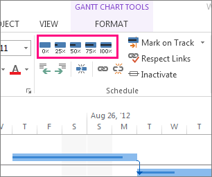 task complete bars on the format tab